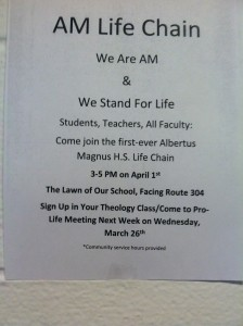 April 1st - Albertus Magnus High School 1st LIFE Chain~ 3PM-5PM
